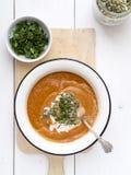 Sopa del garbanzo del tomate Fotos de archivo