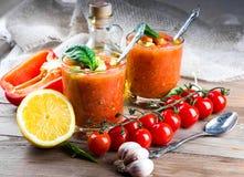 Sopa del gazpacho del tomate con pimienta Imagen de archivo libre de regalías