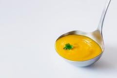 Sopa del jengibre de la zanahoria de la cucharón Imagenes de archivo