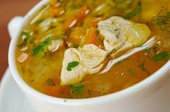 Sopa del pollo y del arroz salvaje Fotografía de archivo