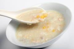 Sopa del pollo y del maíz dulce Foto de archivo