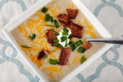 Sopa del puerro de la patata hecha en casa Fotos de archivo libres de regalías
