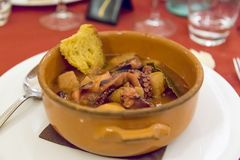 sopa del pulpo con las patatas de tierra Imagen de archivo libre de regalías