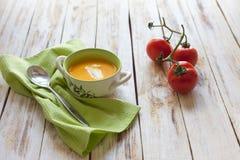 Sopa del puré de la calabaza Foto de archivo