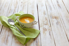 Sopa del puré de la calabaza Fotografía de archivo