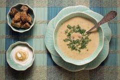 Sopa del queso adentro flor-como la loza Fotografía de archivo
