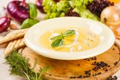 Sopa del queso con el pollo Fotografía de archivo libre de regalías