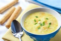Sopa del queso con el pollo, las patatas y la cúrcuma Imagen de archivo libre de regalías