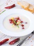 Sopa del queso con la salchicha ahumada Imagen de archivo