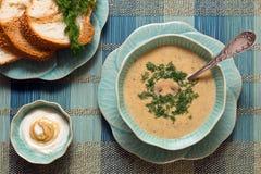 Sopa del queso con pan fresco y salsa Foto de archivo