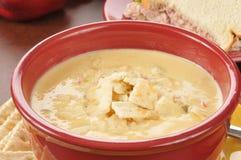 Sopa del queso de la estafa del pollo con un bocadillo Fotos de archivo