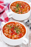 Sopa del tomate con el arroz y las verduras, visión superior Fotografía de archivo libre de regalías