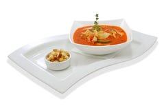 Sopa del tomate con el calabacín Imágenes de archivo libres de regalías
