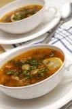 Sopa del tomate con las aceitunas imagen de archivo libre de regalías