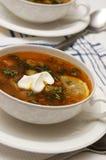 Sopa del tomate con las aceitunas imagen de archivo