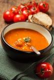 Sopa del tomate con las albóndigas Fotos de archivo