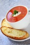 Sopa del tomate con pan turco Foto de archivo