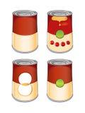 Sopa del tomate de la lata de la plantilla Foto de archivo