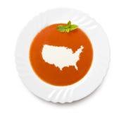 Sopa del tomate de la placa con crema en la forma de los E.E.U.U. (serie) Fotos de archivo