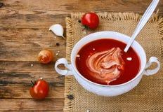 Sopa del tomate en un primer blanco de la taza Foto de archivo libre de regalías
