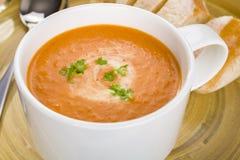 Sopa del tomate en una taza Imágenes de archivo libres de regalías