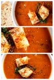 Sopa del tomate y collage de los cuscurrones Imagen de archivo libre de regalías