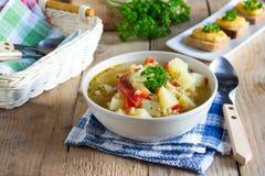 Sopa del Veggie con las lentejas y el bulgur Fotos de archivo