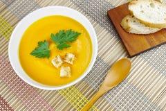 Sopa deliciosa de la zanahoria Fotografía de archivo libre de regalías