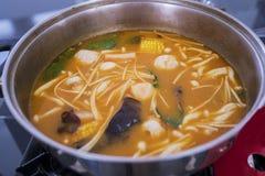 Sopa deliciosa del goong de tom yum fotos de archivo