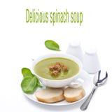 Sopa deliciosa dos espinafres com o pão, isolado no branco foto de stock royalty free