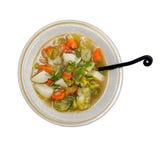 Sopa do alho-porro com a batata isolada no fundo branco Imagem de Stock