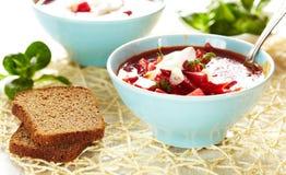 Sopa do Borscht com colher Imagem de Stock Royalty Free