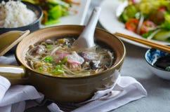 Sopa do broto de soja com vegetais, carne e peixes Fotografia de Stock Royalty Free