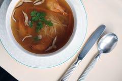 Sopa do camarão do cogumelo Imagem de Stock