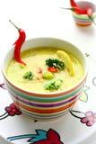 Sopa do caril com bróculos fotografia de stock