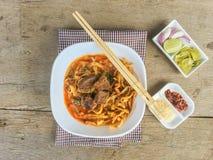 Sopa do caril do macarronete Imagens de Stock
