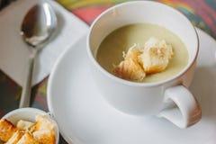 Sopa do creme da raiz de aipo com pão torrado e queijo Imagem de Stock