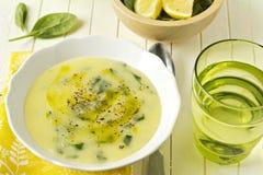 Sopa do creme do espinafre da farinha de milho Foto de Stock
