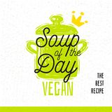 Sopa do dia, estilo do esboço que cozinha o ícone da rotulação imagens de stock royalty free