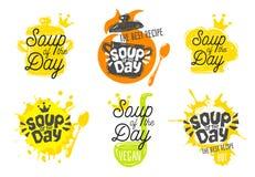 Sopa do dia, estilo do esboço que cozinha os ícones da rotulação ajustados imagens de stock