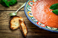 Sopa do frio do tomate Foto de Stock Royalty Free