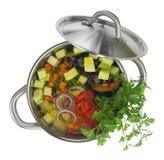 Sopa do legume fresco em um potenciômetro Fotografia de Stock