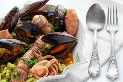 Sopa do marisco com pães ralados Passatelli Imagem de Stock Royalty Free