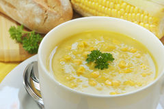 Sopa do milho e da salsa Imagens de Stock