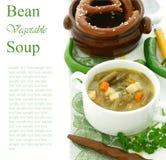 Sopa do Minestrone com feijões verdes, cenouras e pota Fotos de Stock