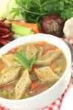 Sopa do pão com verdes Fotografia de Stock Royalty Free