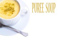Sopa do puré com os vegetais no branco fotografia de stock