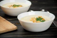 Sopa do queijo com pão branco Fotos de Stock