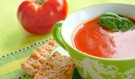 Sopa do tomate com frito de pão Imagem de Stock Royalty Free