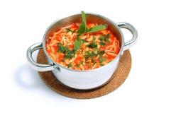 Sopa do tomate com os macarronetes no potenciômetro Imagens de Stock Royalty Free